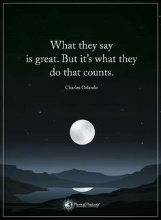 What they say is great. But it's what they do that counts. ~~~~~~Charles Orlando