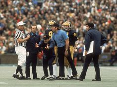 Michigan coach Bo Schembechler argues with a referee during game a 1973 game against Ohio State.