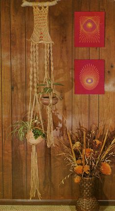 Macrame, string art, dried flowers and wood paneling. Looks like the 70's to me!!
