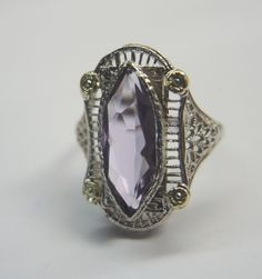 Antique Amethyst Engagement Ring 14K White Gold Ring Size 5 Art Deco Vintage  #Engagement