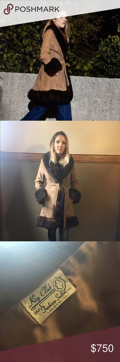 VINTAGE 70's suede genuine fur trim princess coat NO TRADES 🚫NO BIDS🚫 // This is a gorgeous, hard to find piece // 1976 Vintage coat originally purchased from a top notch vintage shop in Chicago// Beautiful condition // Fox fur chocolate brown trim // camel suede outer // Wrap tie waist - msg for measurements, serious inquiries please! Jackets & Coats