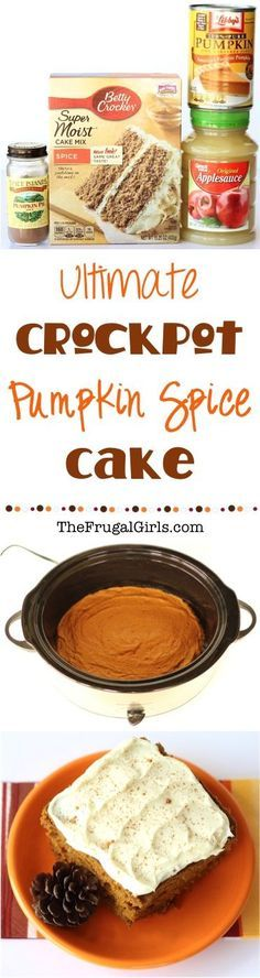 Crockpot Pumpkin Spice Cake Recipe! The delicious flavors of Pumpkin and Spice make this easy Crock Pot Cake the ultimate in cozy Fall recipes! Just throw it in the Slow Cooker and walk away!   Recipe at TheFrugalGirls.com