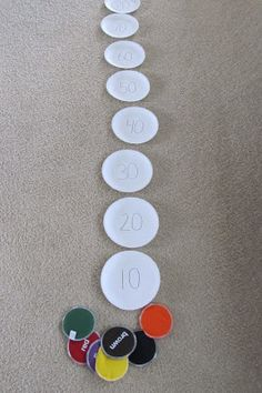 count by tens -- bean bags