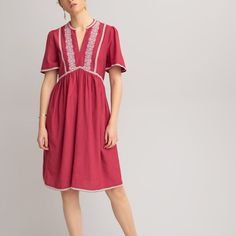 Embroidered mini dress with grandad collar , raspberry pink, La Redoute Collections | La Redoute Tweed, Motif Floral, Feminine Dress, Short Sleeve Dresses, Summer Dresses, How To Wear, Collection, Style, Fashion