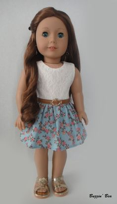 Vintage-Inspired Lace Floral Dress with Belt - American Girl Doll Clothes