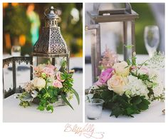 Love these rustic yet elegant centerpieces! See more lovely details here -->  http://evpo.st/1K72rrD #falknerwinery #temecula #california #centerpieces #lanterns #reception #weddingdecor
