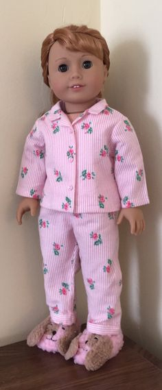 f0bbdfdb97 Fits American Girl doll  flannel pajamas and puppy slippers