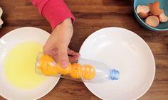 Met deze truc kan je heel makkelijk het eigeel van het eiwit scheiden. Kende jij 'm al?