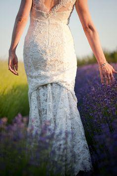 Springtime, Lavender Field, Organic Farm Wedding - Lace,  Gown,  Lavender