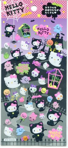 Hello Kitty Halloween stickers Art Halloween, Kawaii Halloween, Halloween Stickers, Kawaii Stickers, Love Stickers, Pretty Cats, Cute Cats, Hello Kitty Halloween, Hello Kitty Art