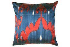 Silk Ikat 18x18 Pillow, Blue