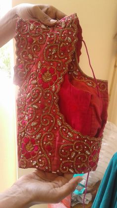 Discover thousands of images about Anna wedding blouse Wedding Saree Blouse Designs, Pattu Saree Blouse Designs, Fancy Blouse Designs, Blouse Neck Designs, Sari Blouse, Hand Work Blouse Design, Stylish Blouse Design, Sneha Reddy, Hand Embroidery