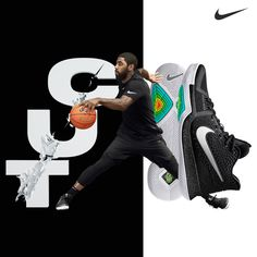 Slice through the defense. The all-new Nike Kyrie 3 features a clean black-and-white colorway.