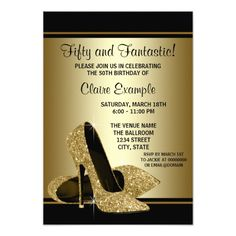 Black Gold High Heels Womans Birthday Party Card Free Invitations Personalized Elegant