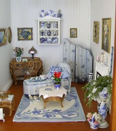 blue edwardian room... Beautiful doll house room of blue and white...