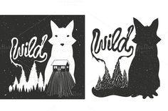 wild fox and pine forest set by julymilks on Creative Market