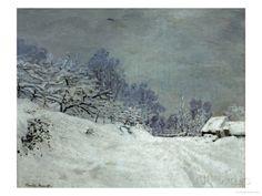claude monet honfleur | Landscape Around Honfleur, Snow, circa 1867 Gicléedruk
