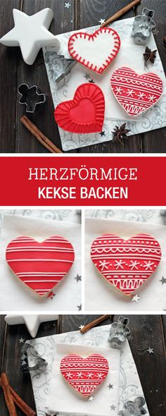 Kekse in Herzform backen und verzieren, weihnachtliche Rezepte / heart shaped cookies with christmas decor via DaWanda.com