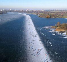 Ice skating on Paterswoldse Meer, Netherlands