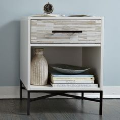 Wood-tile nightstand - West Elm : I love the wood and the white it matches the theme perfectly. But I think I will only have this on one side of the bed and maybe a accent nightstand on the left. Modern Bedroom Furniture, Home Furniture, Antique Furniture, Rustic Furniture, Contemporary Bedroom, Outdoor Furniture, Furniture Sets, Ikea Furniture Makeover, Cherry Furniture