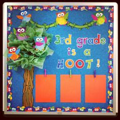 My Classrooom Bulletin Board with Owl Stars (I really like the clothes pins for student work).  Good idea about tissue paper, could use wood grain contact paper for the tree.