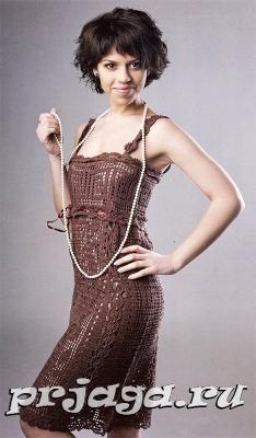 Filé vestido de crochê 1 / Филейное платье крючком 1 / Fillet crochet dress 1