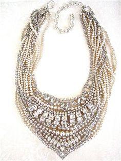Chunky Rhinestone and Pearl Wedding Bib Necklace (Tom Binns Style) Art Deco Vintage Bridal Necklace Bib Statement - Ivory Champagne