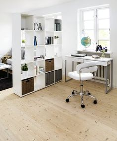 Valkoista työtilaan #työhuone #office Room Deviders, Apartment Interior, Small Apartments, Home Office, My House, Ikea, Shelves, Interior Design, Inspiration
