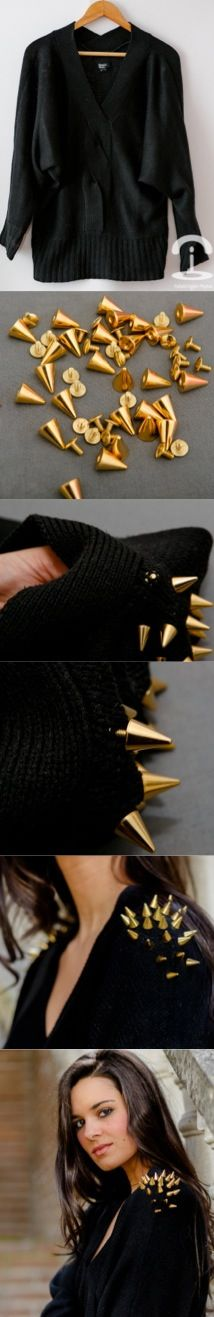 DIY Spiked jumper, like this but wanna do round elbow patches