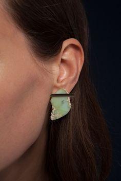 Chrysoprase Slice Earrings | Kathleen Whitaker