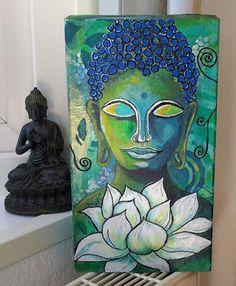Marja's Creativity (paintings, art journals, etc. Simple Canvas Paintings, Watercolor Paintings For Beginners, Modern Art Paintings, Buddha Artwork, Buddha Painting, Om Art, Oil Pastel Art, Madhubani Painting, Spirited Art