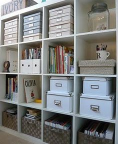 Organized shelving with bins and boxes WANT THIS FOR MY SEWING/CRAFT ROOM