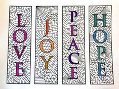 Love, Joy, Peace, Hope Bookmarks – PDF Zentangle Coloring Page – Scribble & Stitch Printable Coloring Pages, Adult Coloring Pages, Coloring Sheets, Coloring Books, Love Joy Peace, As You Like, Bookmarks, Etsy, Pattern