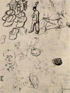 Sheet with Figures at a Table, a Sower, Clogs, etc, 1890 Vincent van Gogh