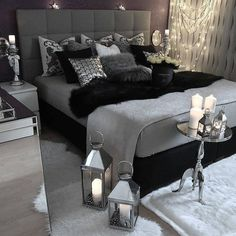 gray bedroom with pop of color ; gray bedroom ideas with pop of color ; gray bedroom ideas for couples ; Bedroom Inspo, Home Decor Bedroom, Bedroom Inspiration, Design Bedroom, Bedroom Themes, Bedroom Furniture, Bedroom Ideas Grey, Bedroom Colors, Black Bed Room Ideas