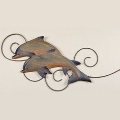 Two Dolphins Wall Sculpture
