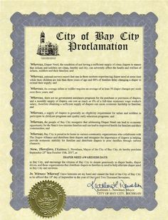 BAY CITY, MI – Mayoral proclamation recognizing Diaper Need Awareness Week (Sept 25-Oct 1) #DiaperNeed Diaperneed.org