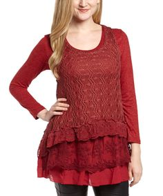 Look at this Pretty Angel Burgundy Layered Linen-Blend Scoop Neck Top on #zulily today!