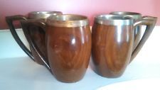 ANTIQUE WOODEN  MUGS TANKARDS WITH METAL INSERTS