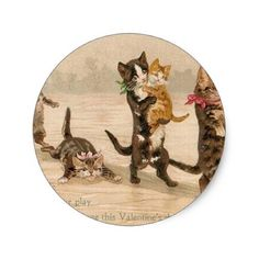 Vintage Victorian Cats Kittens Valentine's Day Classic Round Sticker - Saint Valentine's Day gift idea couple love girlfriend boyfriend design