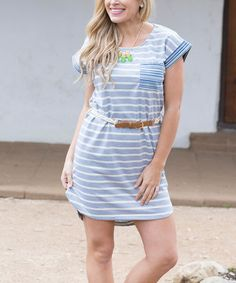 Look what I found on #zulily! Gray Stripe Belted Shift Dress by Pinkblush #zulilyfinds