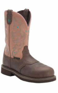 Justin® Ladies Gypsy™ Waxy Brown w/ Rasberry Cream Saddle Vamp Composite Toe Work Boot | Cavender's $110.00