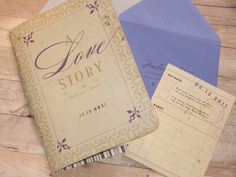 Storybook Wedding Invitation,Library Card RSVP--Cute, but I'd use white paper, change the swirly border to grey, change all of the purple to soft pink, and switch the remaining text to black.