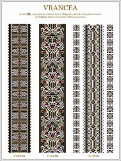 Semne Cusute: iie din Vidra, Vrancea, MOLDOVA Loom Beading, Beading Patterns, Lace Knitting, Knitting Patterns, Bordados E Cia, Palestinian Embroidery, Embroidery Motifs, Cross Stitching, Cross Stitch Patterns