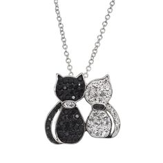 """Crystal Silver-Plated Cats Pendant Necklace, Women's, Size: 18"""", White"""