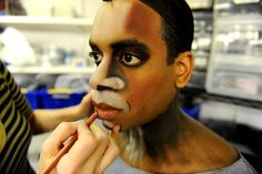 Daniel Breaker gets his make up applied as he goes through his routine of getting prepared for his his role as Donkey in the new Broadway sh...