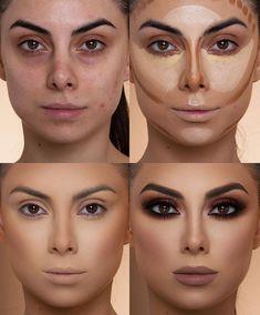Makeup 101, Makeup Contouring, Eyebrow Makeup, Skin Makeup, Makeup Brushes, Makeup Ideas, Contouring Tutorial, Highlighter Makeup, Gold Makeup