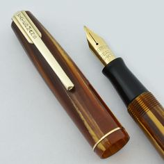 Waterman Stalwart Fountain Pen - Full Size, Brown Marble, Gold Trim, Fine (Excellent, Restored)