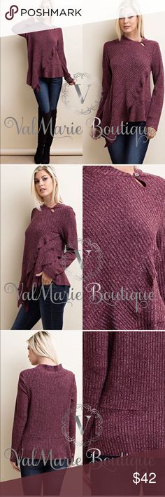 Wine Ribbed Asymmetrical Sweater 🇺🇸MADE IN USA - PREMIUM COLLECTION  BEAUTIFUL BURGUNDY LONG SLEEVE KNIT TOP WITH ASYMMETRICAL HEMLINE WITH RUFFLES. FEATURES A SHAWL COLLAR WITH KEYHOLE & BUTTON CLOSURE, TOP IS SO ON TREND & A MUST HAVE!   Content: 85% POLY 13% RAYON 2% SPANDEX  AMAZING QUALITY, CASUAL (NOT FITTED) FIT AND LOOKS SO GOOD ON  S(4) M(6-8) L(10-12) - ASK FOR MEASUREMENTS IF UNSURE  ‼️PRICE IS ABSOLUTE FIRM‼️PLEASE KEEP IN MIND 🇺🇸MADE IN USA🇺🇸 CLOTHING COSTS ARE EXPENSIVE…