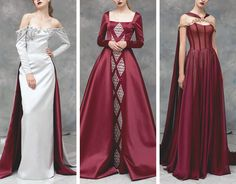 Two Wolves, a Dragon, and a Scribe Pretty Outfits, Pretty Dresses, Fantasy Gowns, Fantasy Outfits, Fashion Dresses, Dress Outfits, Medieval Dress, Beautiful Gowns, Costume Design